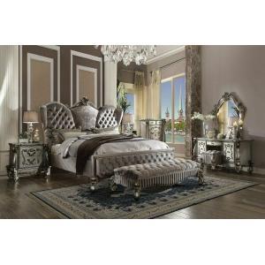 ACME Versailles Queen Bed - 26820Q - Velvet & Antique Platinum