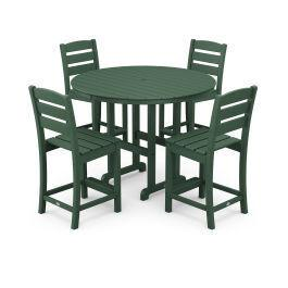 Polywood Furnishings - Lakeside 5-Piece Round Counter Side Chair Set in Green