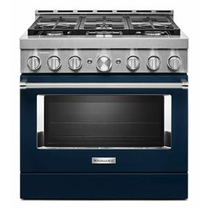 KitchenAid® 36'' Smart Commercial-Style Gas Range with 6 Burners - Ink Blue Product Image