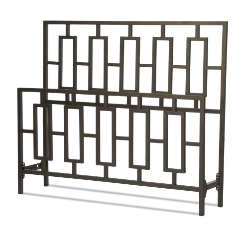 Miami Metal Headboard and Footboard Bed Panels with Geometric Designed Grills and Squared Tubing, Coffee Finish, Queen