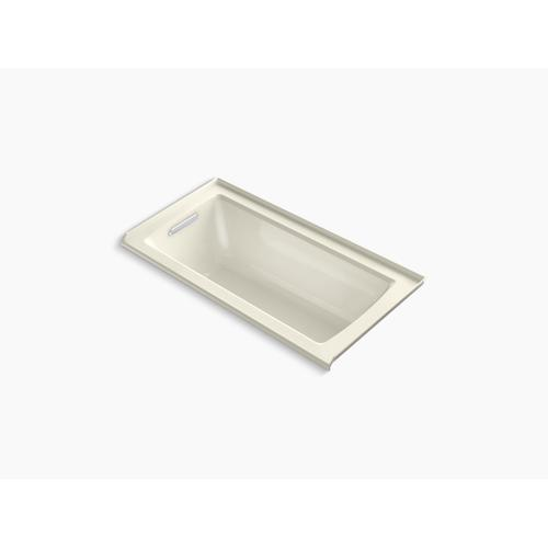 "Biscuit 60"" X 30"" Alcove Bath With Bask Heated Surface, Integral Flange and Left-hand Drain"
