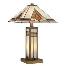 See Details - Table Lamp - Antique Brass/tiffany Shade, E27 A 60wx2&b 15w