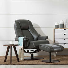 Lund Recliner & Ottoman in Charcoal Air Leather