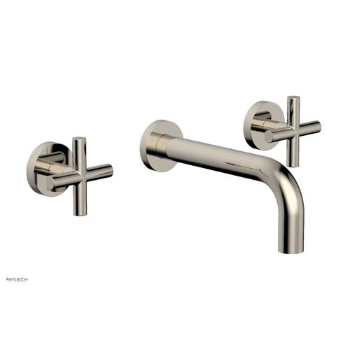"""Phylrich - TRANSITION - Wall Lavatory Set 7 1/2"""" Spout - Cross Handles 120-11 - Polished Nickel"""