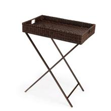 See Details - Function and form come together on this beautiful PU Rattan weave Tray Table. The simplistic design of this tray table is enhanced by a 'POP of contemporary design. The removable tray offer all attentions to function and details. The fresh new look of this tary table with simple metal base will bring new life to your entertaining style. Great for outdoor usage.