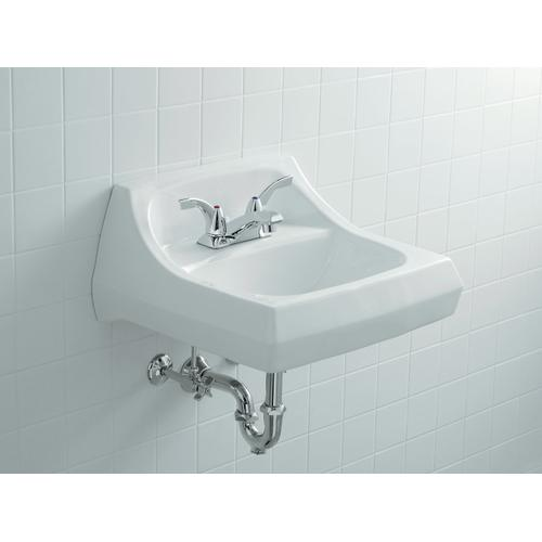 """Black Black 21-1/4"""" X 18-1/8"""" Wall-mount/concealed Arm Carrier Bathroom Sink With 4"""" Centerset Faucet Holes"""