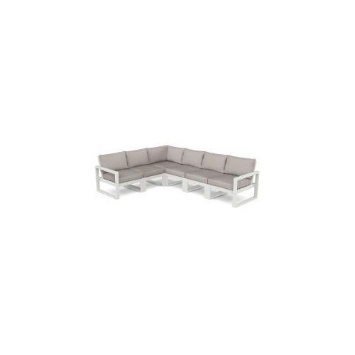 Polywood Furnishings - EDGE 6-Piece Modular Deep Seating Set in Vintage White / Weathered Tweed