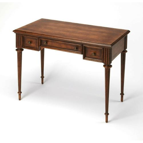 Butler Specialty Company - Perfect for working from home, penning thank you notes, or going over household finances, this beautiful writing desk is a lovely addition to your study, living room, or master suite. Featuring a warm Dark Toffee finish in a Cherry veneer, antique brass finished hardware, two side drawers with metal glides, a center keyboard drawer and wonderful craved details, this desk is a must have for any home office situation.