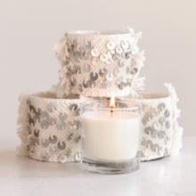 """View Product - 3-1/2""""H, 7 oz. Clear Glass Candle in Sequined Cotton Sleeve, Cream Color"""