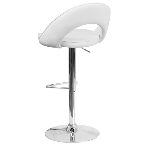 Contemporary White Vinyl Rounded Back Adjustable Height Barstool with Chrome Base