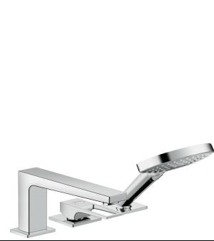 Chrome 3-Hole Roman Tub Set Trim with Loop Handle and 1.75 GPM Handshower Product Image