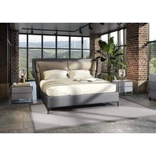 Modrest Jolene - Eastern King Dark & Light Grey Leatherette Bed