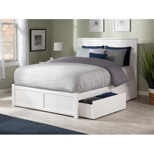 Nantucket King Flat Panel Foot Board with 2 Urban Bed Drawers White