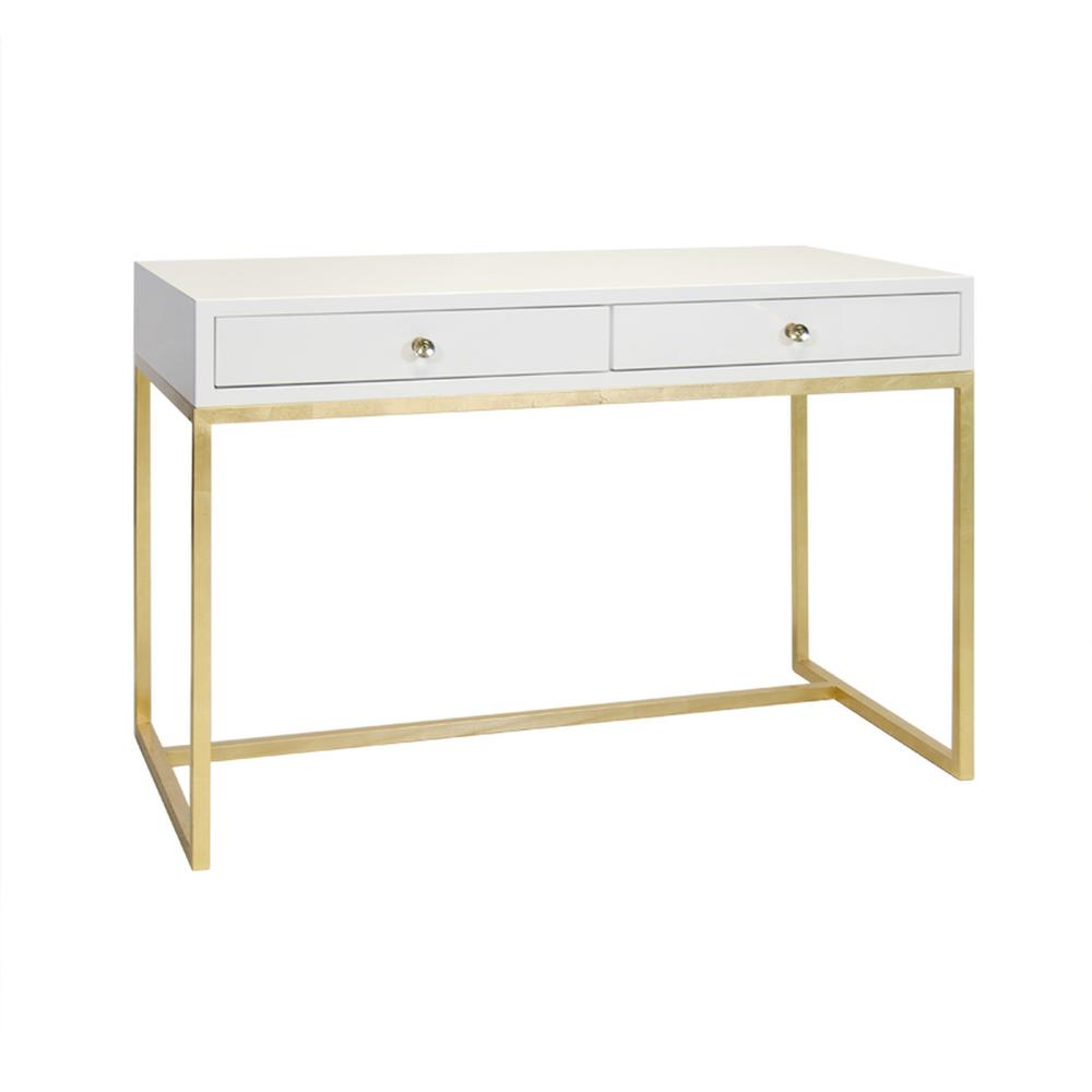 White Lacquer 2 Drawer Desk On Gold Leafed Base