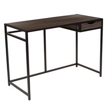See Details - Driftwood Finish Computer Desk with Pull-Out Drawer and Black Metal Frame