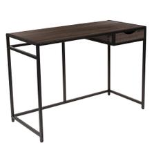 Driftwood Finish Computer Desk with Pull-Out Drawer and Black Metal Frame