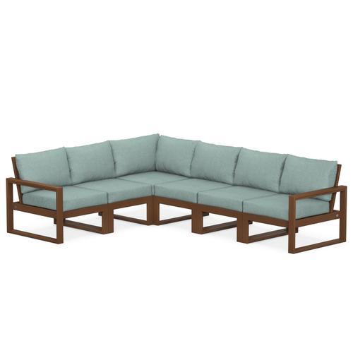 Polywood Furnishings - EDGE 6-Piece Modular Deep Seating Set in Teak / Glacier Spa