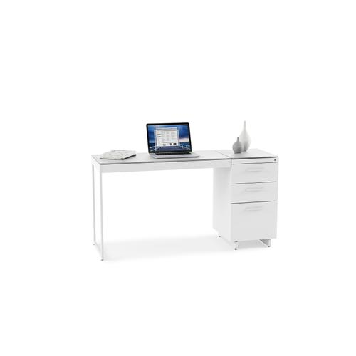 BDI Furniture - Centro 6414 3-Drawer File Cabinet in Satin White Painted Oak Grey Glass