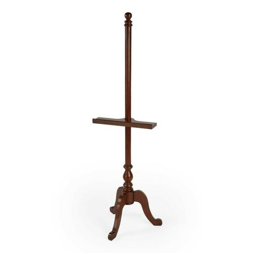 Display cherished photography and artwork on this lovely easel. Crafted from poplar hardwood solids, it features a rich Plantation Cherry finish with convenient height adjustment and a tripod base.
