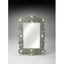 This magnificent Wall Mirror features sophisticated artistry and consummate craftsmanship. The botanic patterns covering the piece are created from white bone inlays cut and individually applied in a sea of black by the hands of a skillful artisan. No two mirrors are ever exactly alike, ensuring this piece will hang as a bonafide original.