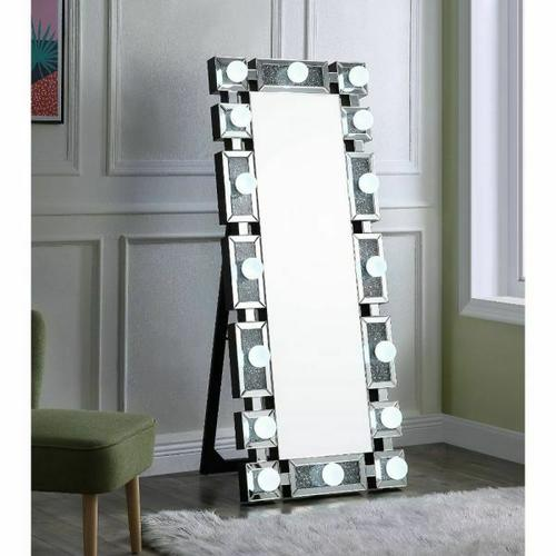 Acme Furniture Inc - Noralie Accent Floor Mirror by Acme 97756, Includes all Vanity Light Bulbs