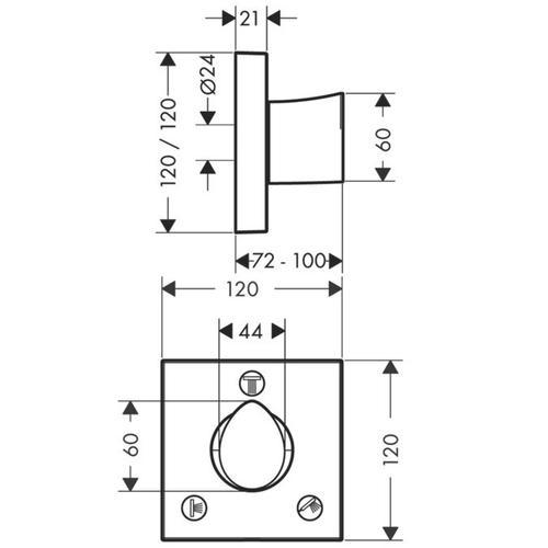 Polished Black Chrome Shut-off/ diverter valve Trio/ Quattro 120/120 for concealed installation