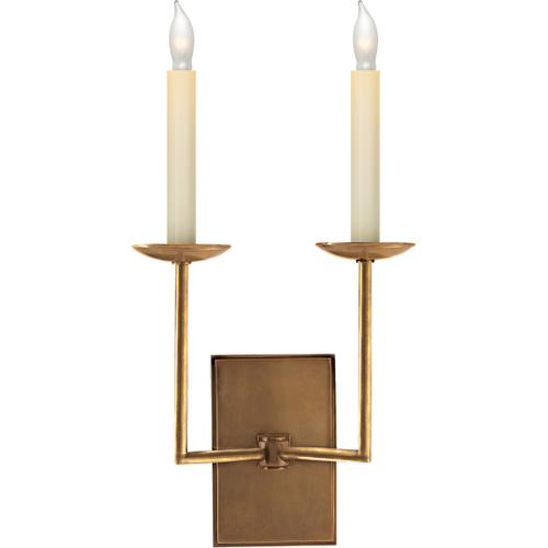 E. F. Chapman Right Angle 2 Light 10 inch Hand-Rubbed Antique Brass Decorative Wall Light