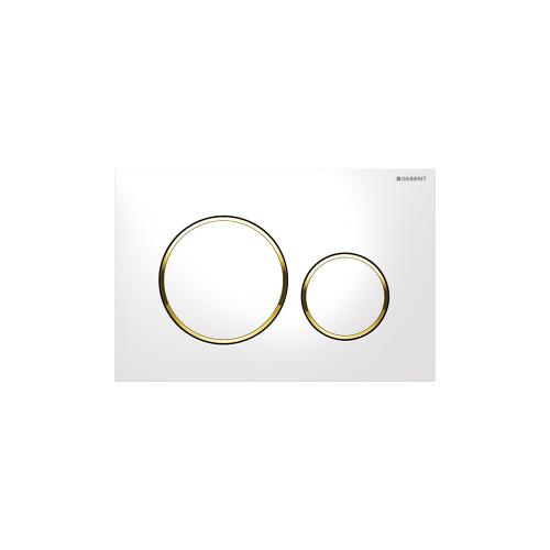 Sigma20 Dual-flush plates for Sigma series in-wall toilet systems White with polished gold accent Finish