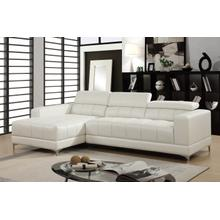 Samuel Bonded Leather Sectional, White