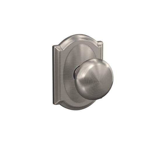 Custom Plymouth Knob with Camelot Trim Hall-Closet and Bed-Bath Lock - Satin Nickel