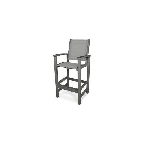 Polywood Furnishings - Coastal Bar Chair in Slate Grey / Metallic Sling