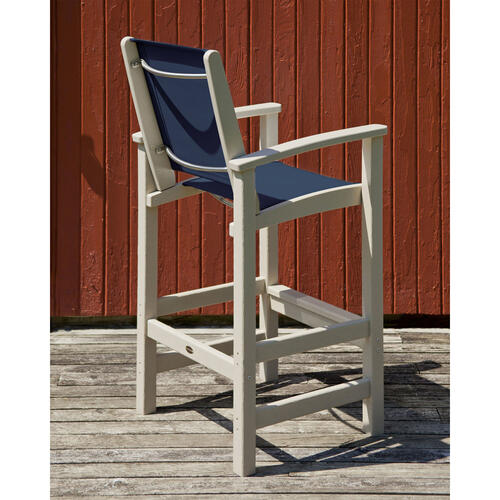 Black & Poolside Coastal Bar Chair
