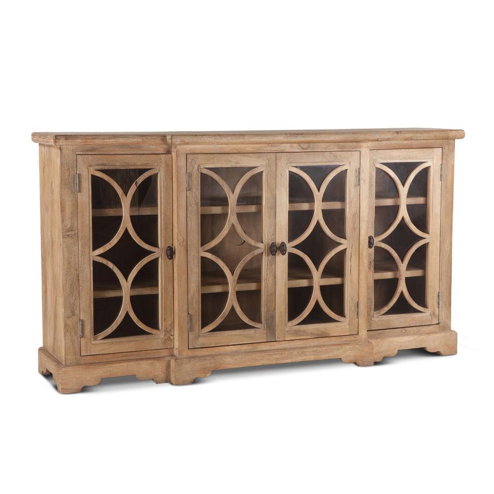 "See Details - San Rafael 75"" Glass Cabinet Antique Oak"