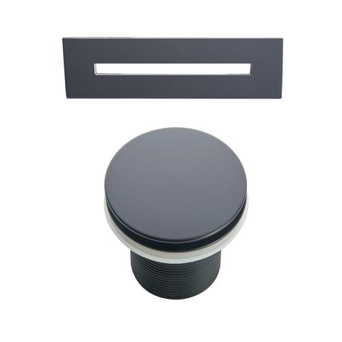 """Product Image - Ceres 59"""" Acrylic Tub with Integral Drain and Overflow - Matte Black Drain and Overflow"""