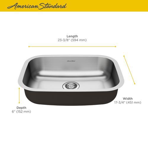 "American Standard - Portsmouth 23x18"" ADA Single Bowl Stainless Steel Kitchen Sink  American Standard - Stainless Steel"