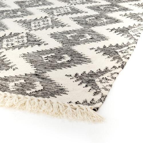 9'x12' Size Charcoal & Cream Wool Rug