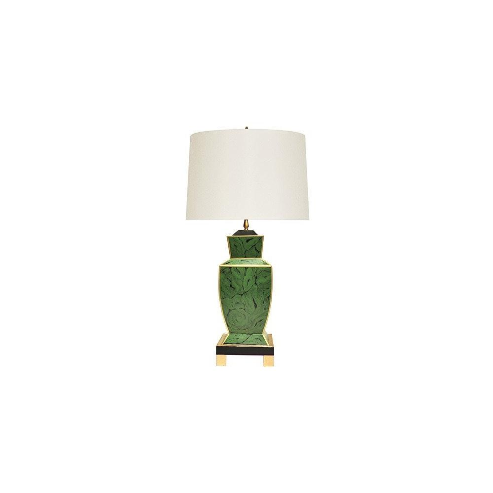 The Extraordinary Bianca Table Lamp Is A Modern Take On A Timeless Classic, Featuring A Distinctive, Urn-shaped Base With Hand-painted Tole In Brilliant Green Malachite. Accented With Gleaming Gold Edges and Floating Atop A Four Leg Base, Bianca Is A Stunning Addition To Brighten Any ROOM.