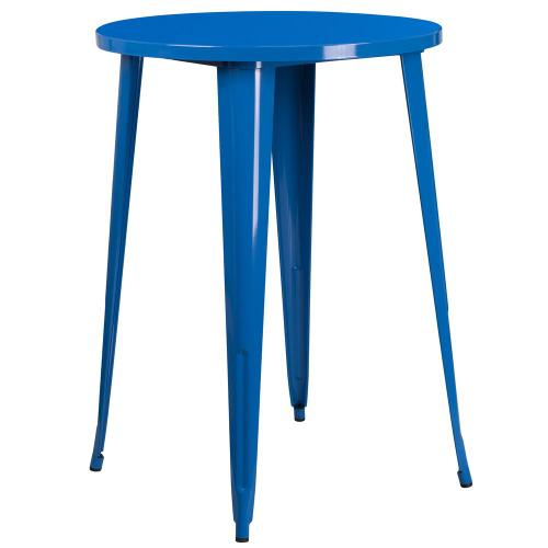 Alamont Furniture - 30'' Round Blue Metal Indoor-Outdoor Bar Height Table