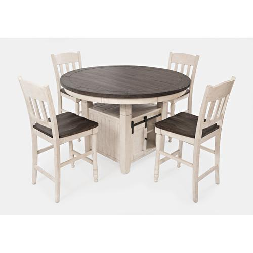 Madison County Round Dining Tableand 6 Stools - Vintage White