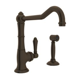 Cinquanta Single Hole Column Spout Kitchen Faucet with Sidespray and Extended Spout - Tuscan Brass with Metal Lever Handle