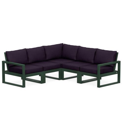Polywood Furnishings - EDGE 5-Piece Modular Deep Seating Set in Green / Navy Linen