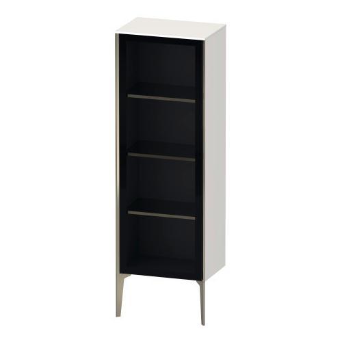 Semi-tall Cabinet With Mirror Door Floorstanding, White High Gloss (decor)