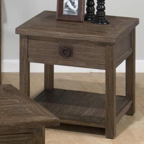 Square End Table W/ Drawer and Shelf