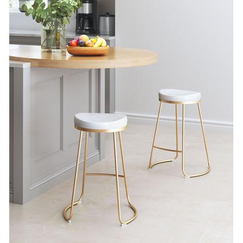 Zuo Modern - Bree Counter Stool White & Gold