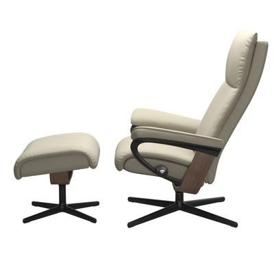 See Details - Stressless® Aura (M) Cross Chair with Ottoman