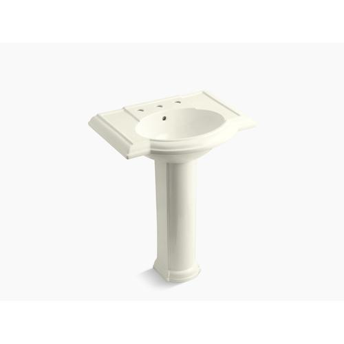 """Biscuit 27"""" Pedestal Bathroom Sink With 8"""" Widespread Faucet Holes"""