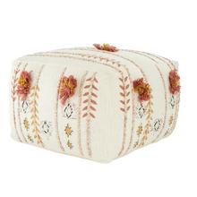 "Product Image - 18"" Square Cotton Embroidered Pouf w/ Applique & Fringe, Cream Color"