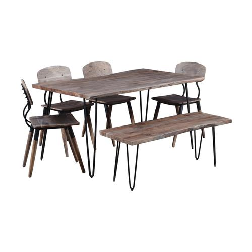 """Jofran - Nature's Edge 60"""" Dining Table With 4 Chairs and Bench - Brushed Grey"""