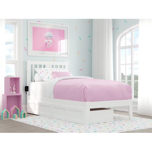 Tahoe Twin Bed with USB Turbo Charger and 2 Drawers in White