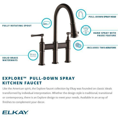 Elkay - Elkay Explore Three Hole Bridge Faucet with Pull-down Spray and Lever Handles Lustrous Steel